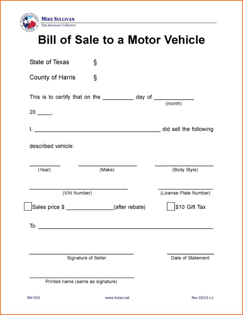 Excel Bill Of Sale Template and Bill Of Sale form Texas soap format