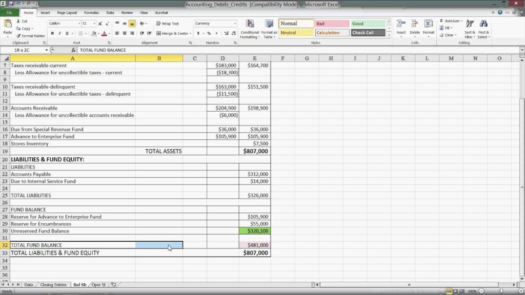 Excel Template Accounting Small Business and Ms Excel Accounting Basics Debits Credits Equation Example