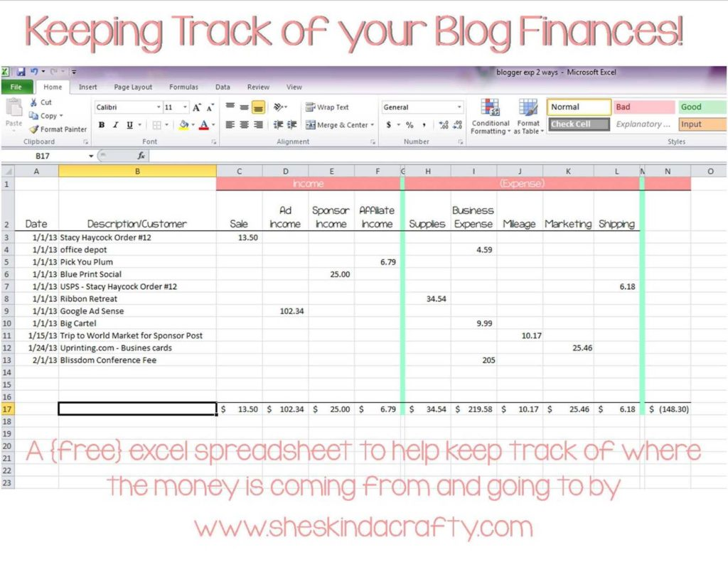 Expense Report Example and Keep On Track Blogging In E and Expense Spreadsheet Shes