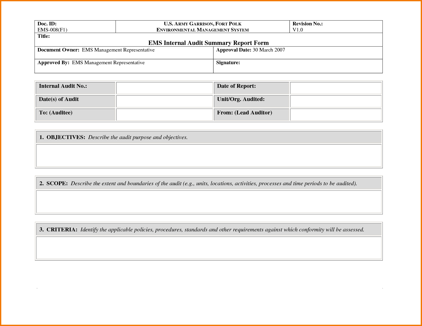 Expense Report Policy Sample and 8 Internal Audit Report Template Expense Report