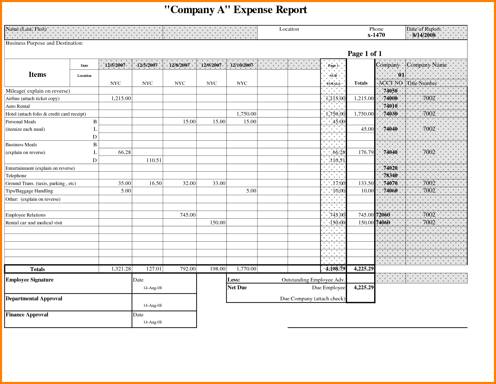 Expense Report Samples and 8 Expense Report Sample Resume Reference