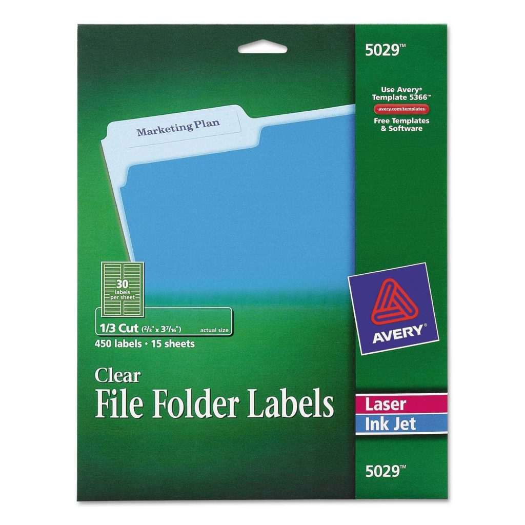 File Folder Labels Templates 30 Per Sheet and Avery Clear File Folder Labels for Laser and Inkjet Printers 1 3