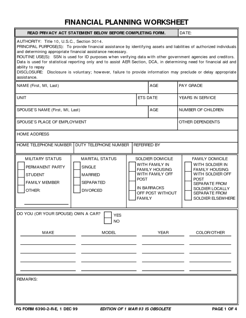 Financial Planning Worksheets and 18 Best Images Of Able Financial Worksheet Financial
