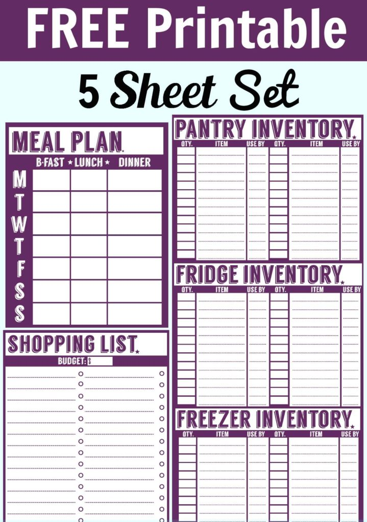 Food Pantry Inventory Spreadsheet and Free 5 Sheet Printable Set Menu Planner Shopping List Pantry