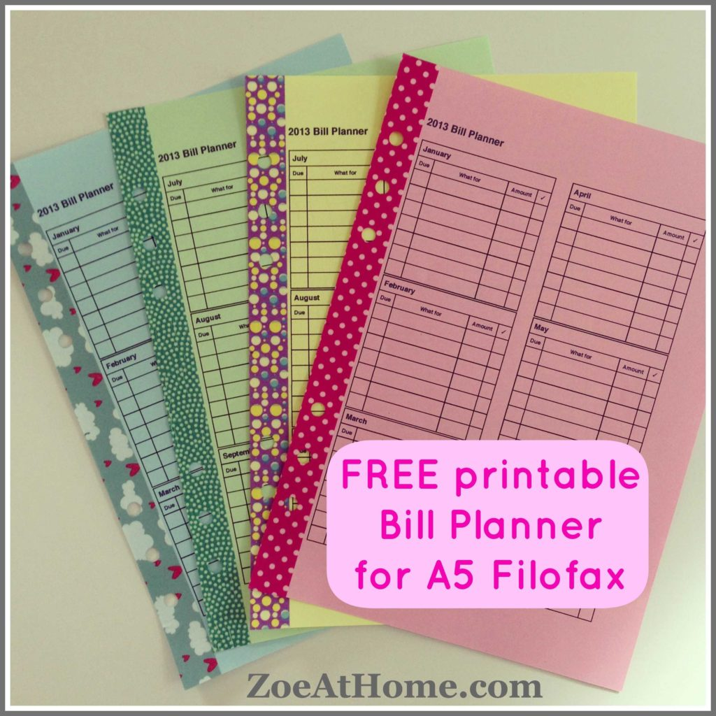 Free Bill Paying organizer Template and Free Pdfs  Zoeathome