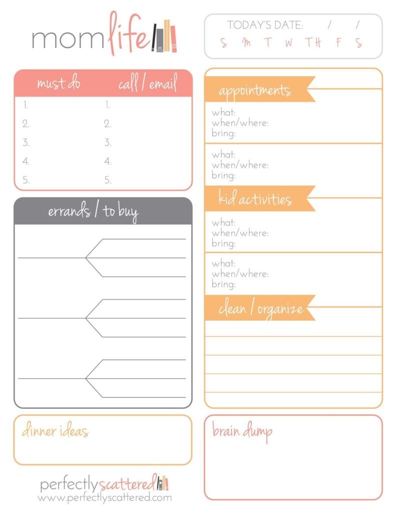 Free Bill Paying organizer Template and Free Printable Daily Planner for Moms Free Printable Planners