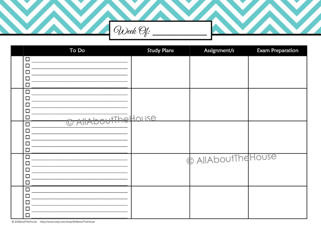 Free Bill Paying organizer Template and Printable Student Planner