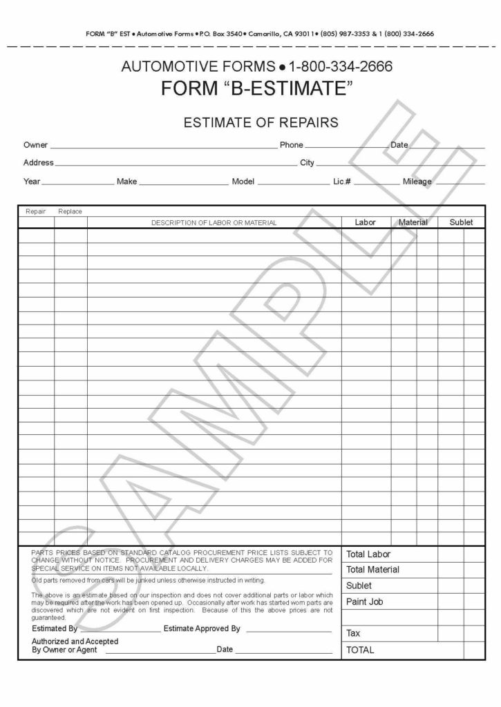 Free Body Shop Estimate Template and Body Shop forms