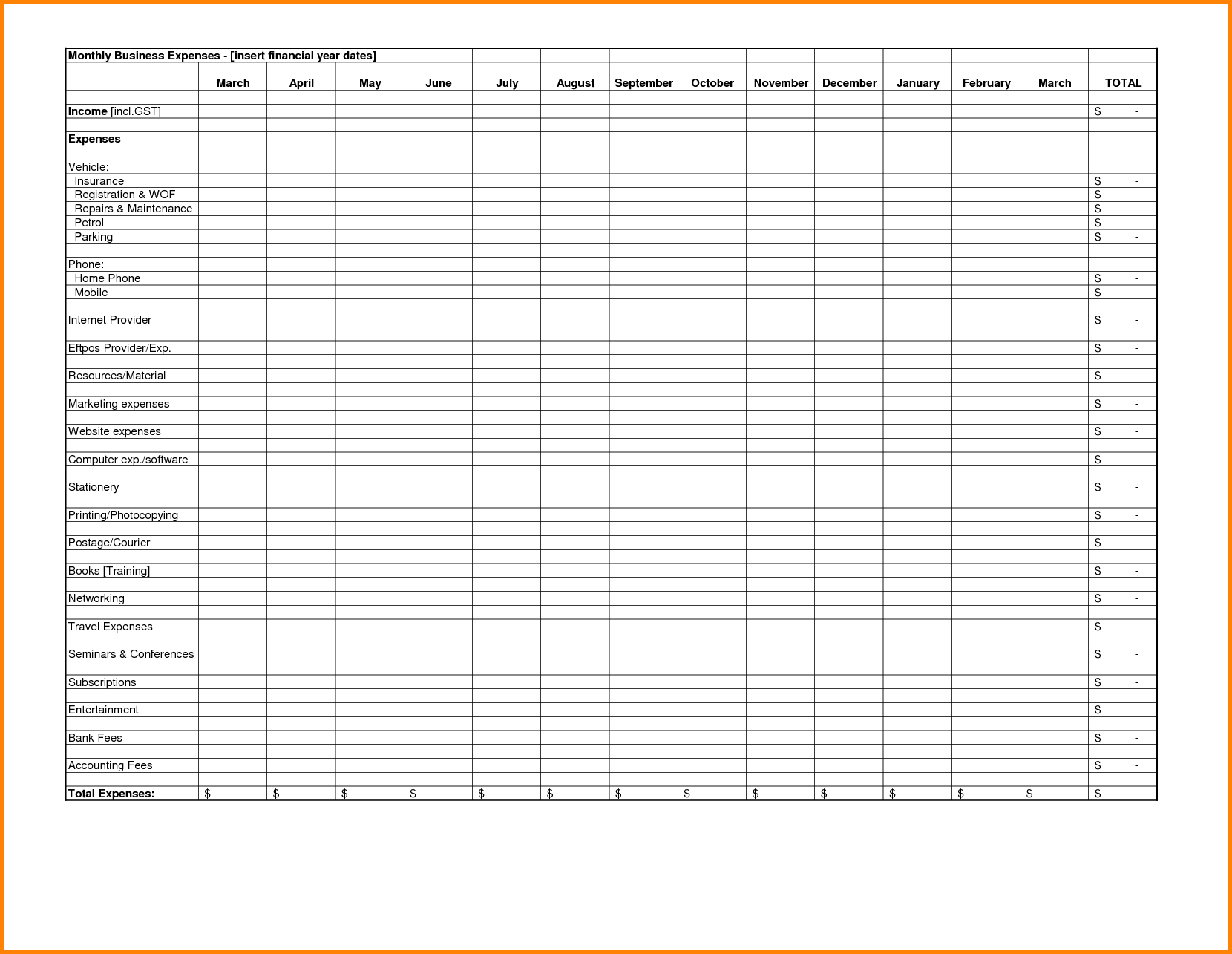 Free Business Expense Spreadsheet and Expense Reports Free Templates Excel Spreadsheet Template for
