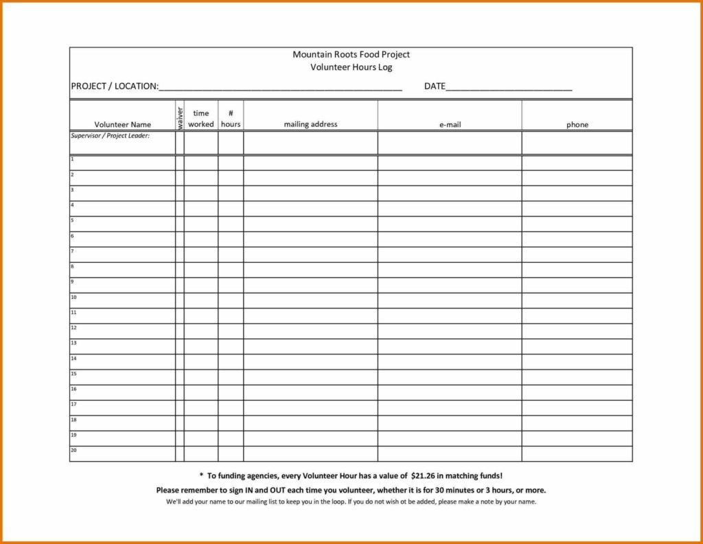 Free Expense Sheet Template and Images Of Printable Hours Log Volunteer Sheet Free Expense Report