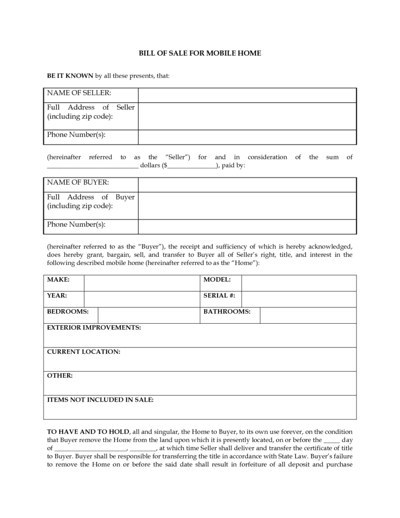 Free Generic Bill Of Sale Template and Printable Sample Rv Bill Of Sale form form Free Legal Documents