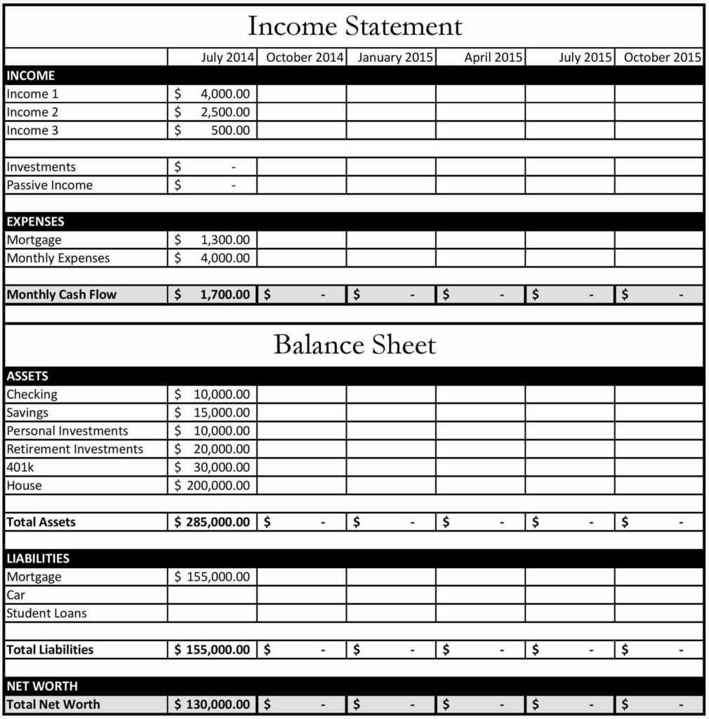 Free Personal Financial Statement Template Download and In E Doc In E Statement and Balance Sheet Template Financial
