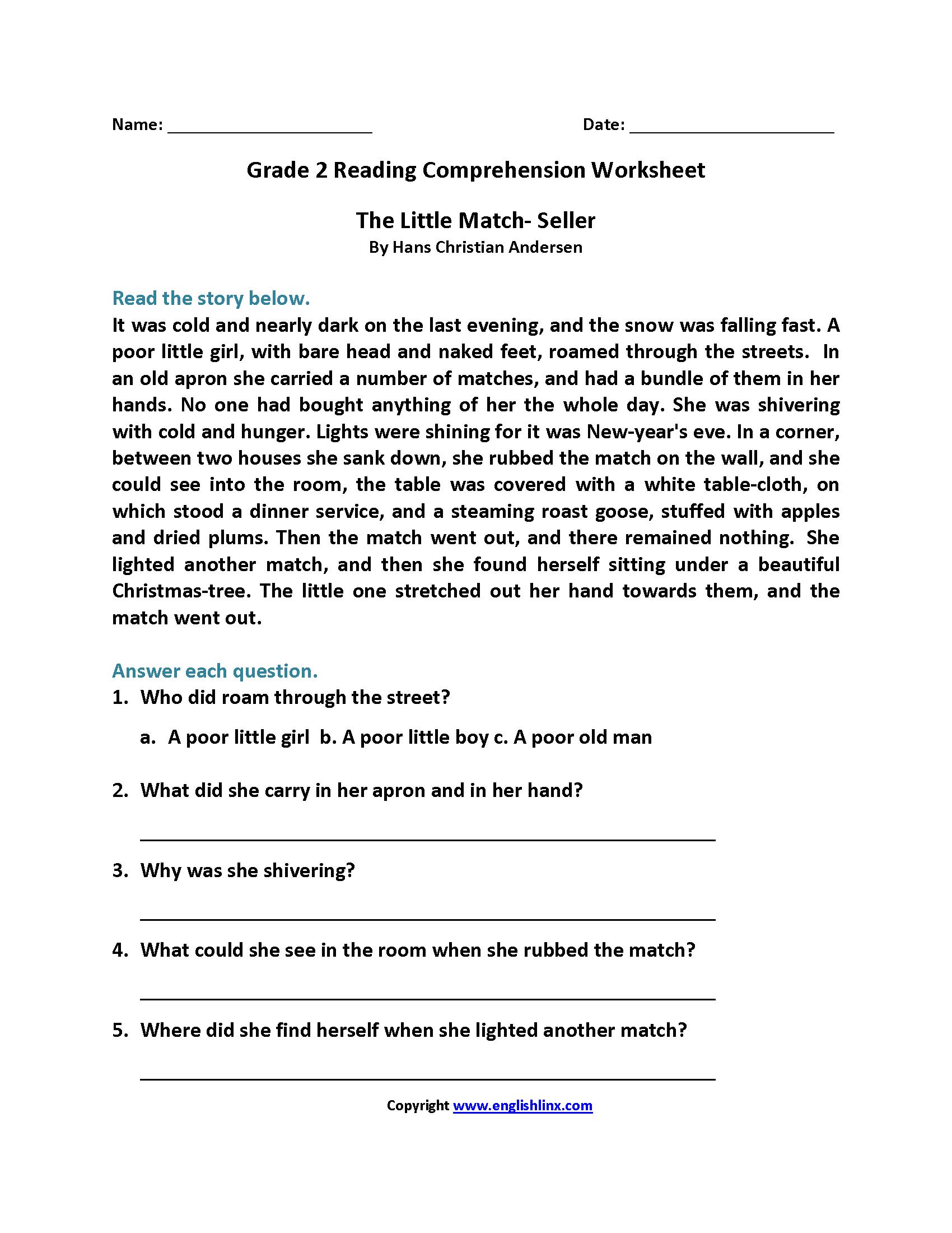 Free Printable Second Grade Reading Comprehension