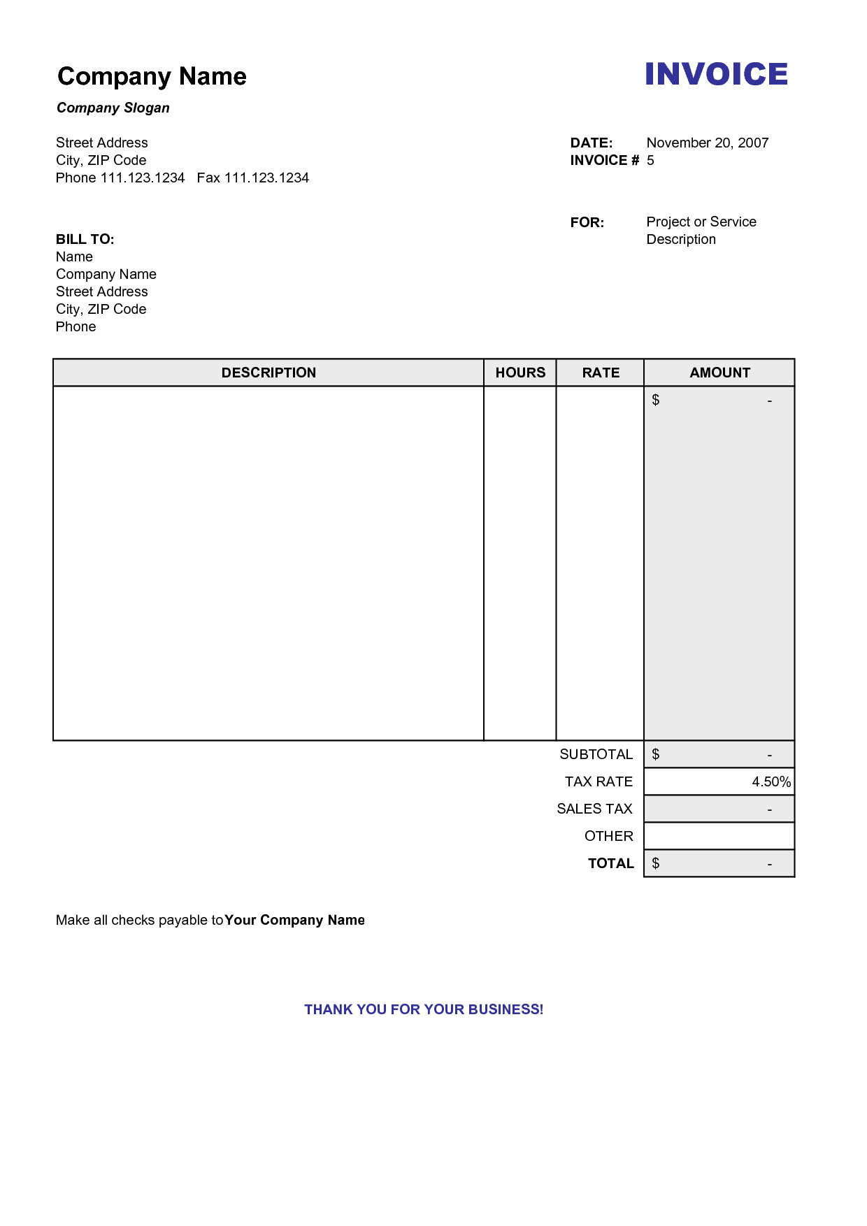 Free Printable Service Invoice Template and Blank Billing Invoice Scope Of Work Template organization
