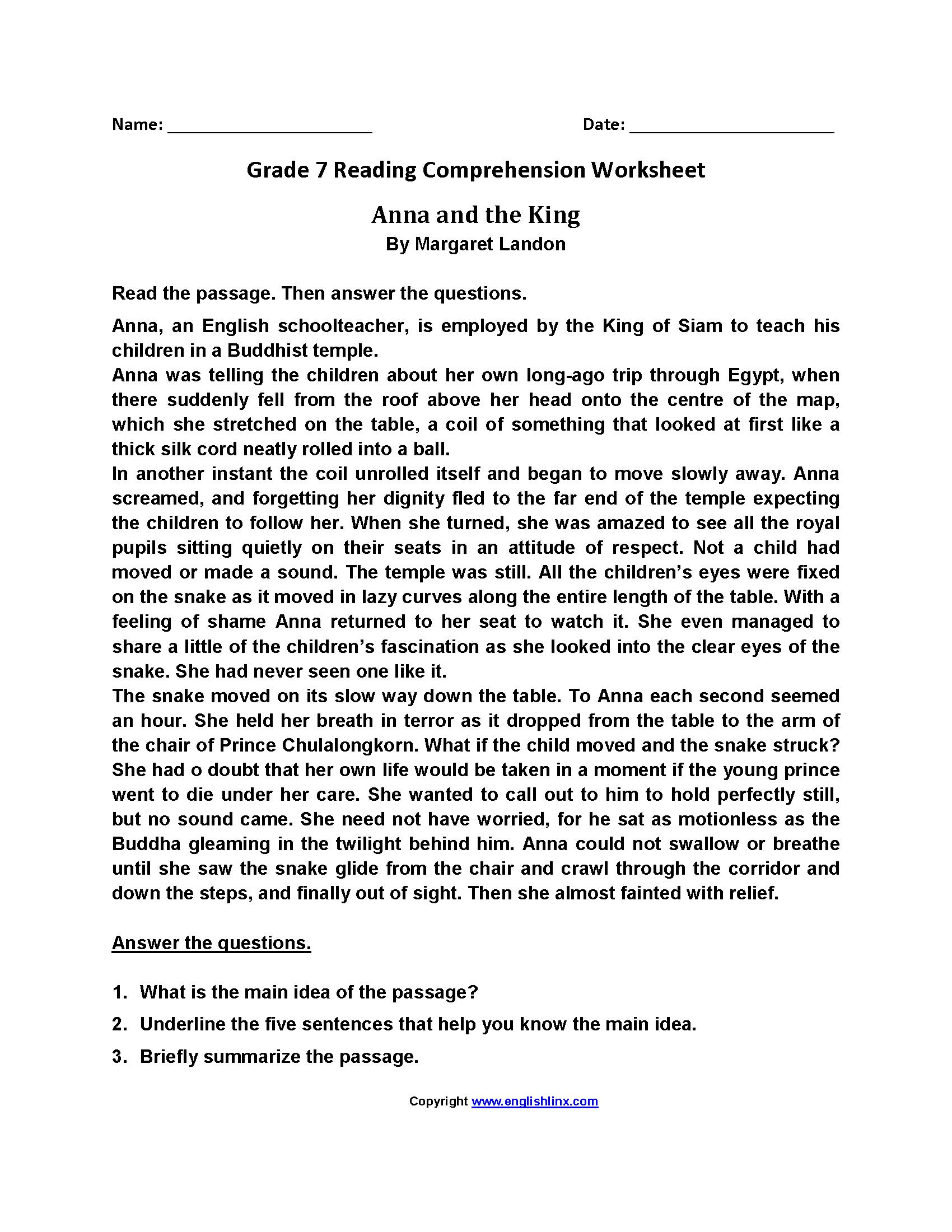 Free Reading Comprehension Worksheets 7th Grade and Reading Worksheets Seventh Grade Reading Worksheets