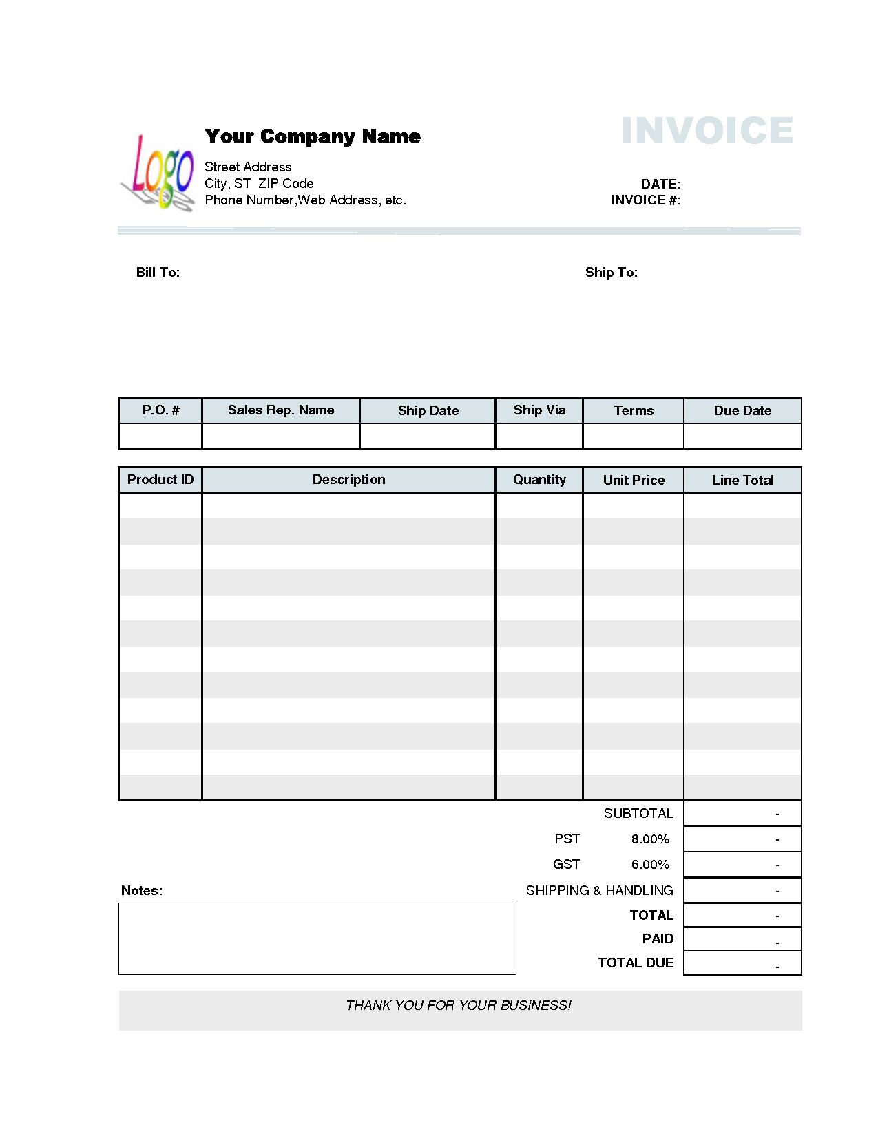 Free Small Business Invoice Template and Business Invoice Template Invoice Example