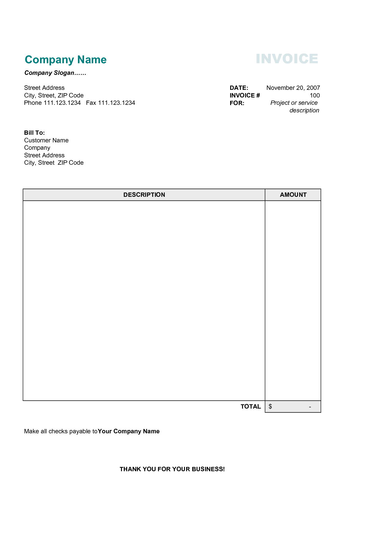 Free Small Business Invoice Template and Simple Invoice Template Free Invoice Example