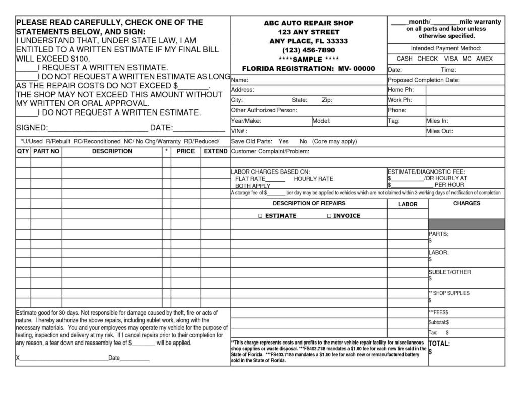 Garage Repair Invoice Template and 14 Best Photos Of Auto Repair Invoice Template Printable Auto Body