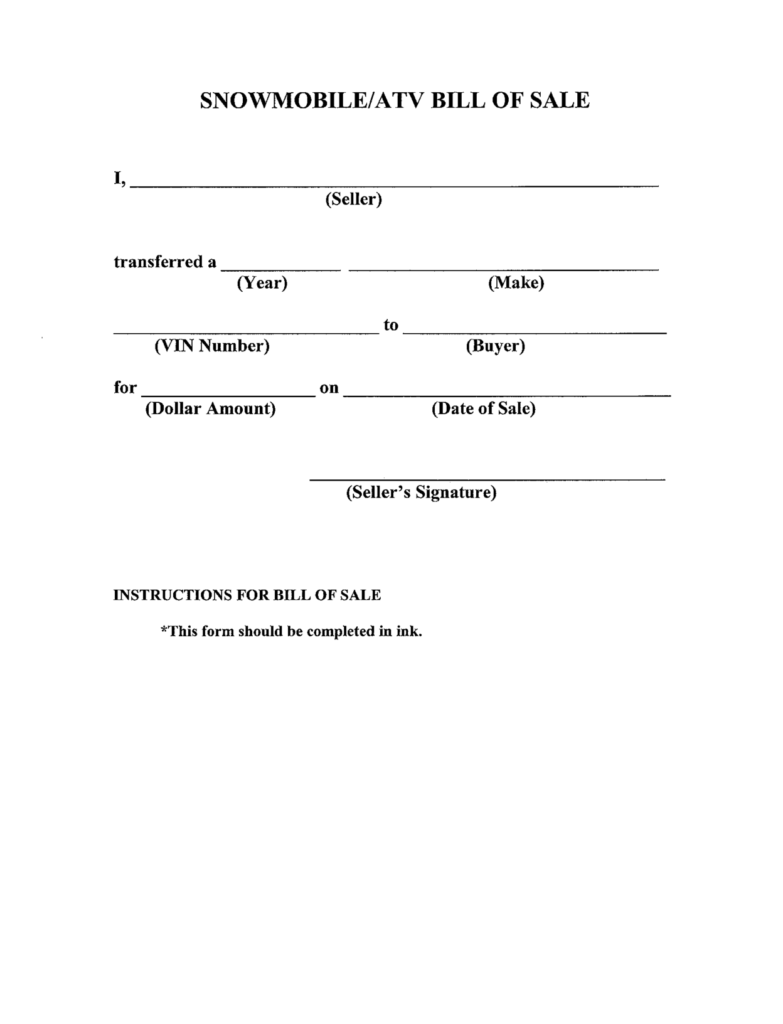 Generic Bill Of Sale Template and Printable Sample Bill Of Sale Templates form forms and Template