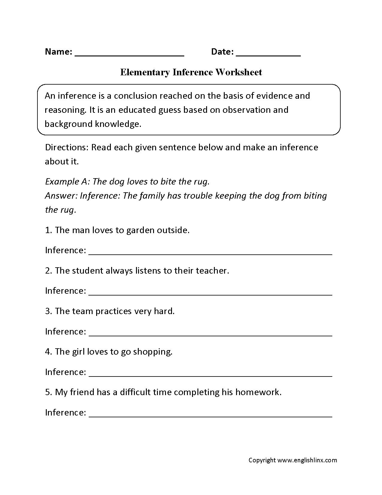 Grade 4 Health Worksheets and Reading Worksheets Inference Worksheets