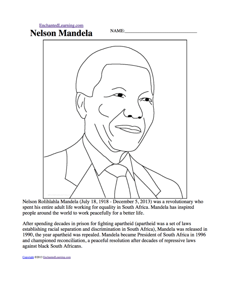 Grade 4 History Worksheets south Africa and Nelson Mandela Enchantedlearning