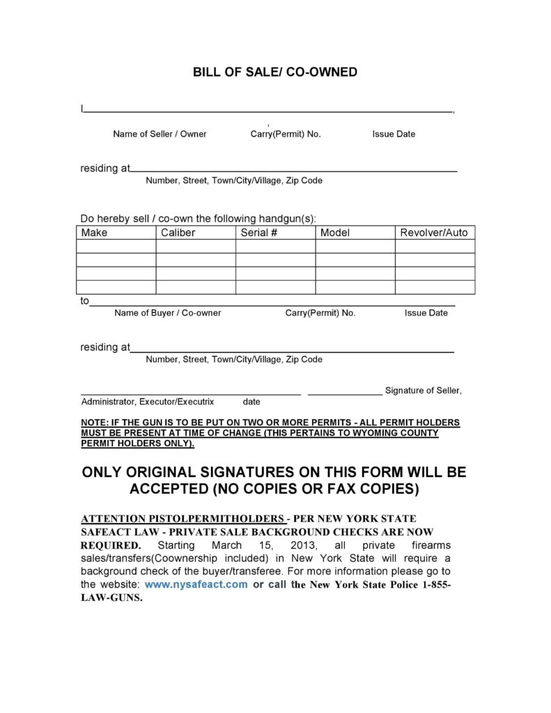 Handgun Bill Of Sale Template and Free New York Firearms Bill Of Sale form Pdf Docx