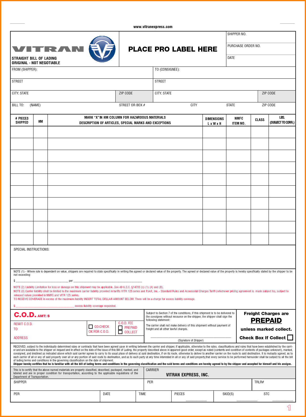 Hazardous Materials Bill Of Lading Template and Blank Bill Of Lading Letterhead Template Sample