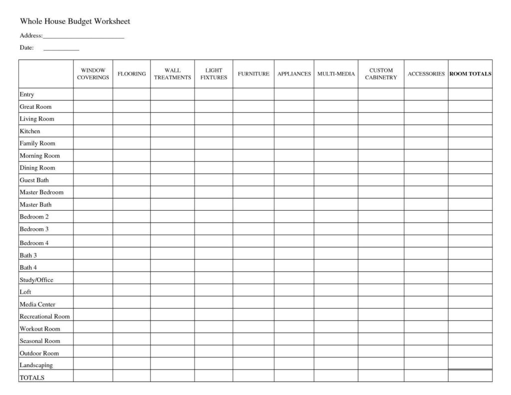 Home Budget Spreadsheet Free and Printable Household Bud Worksheets whole House Bud with