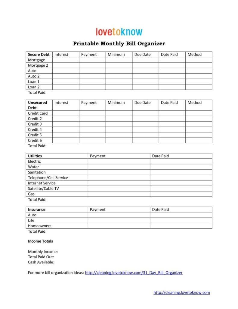 Home Finance Bill organizer Template and Bills organizer Template Printable Online Calendar