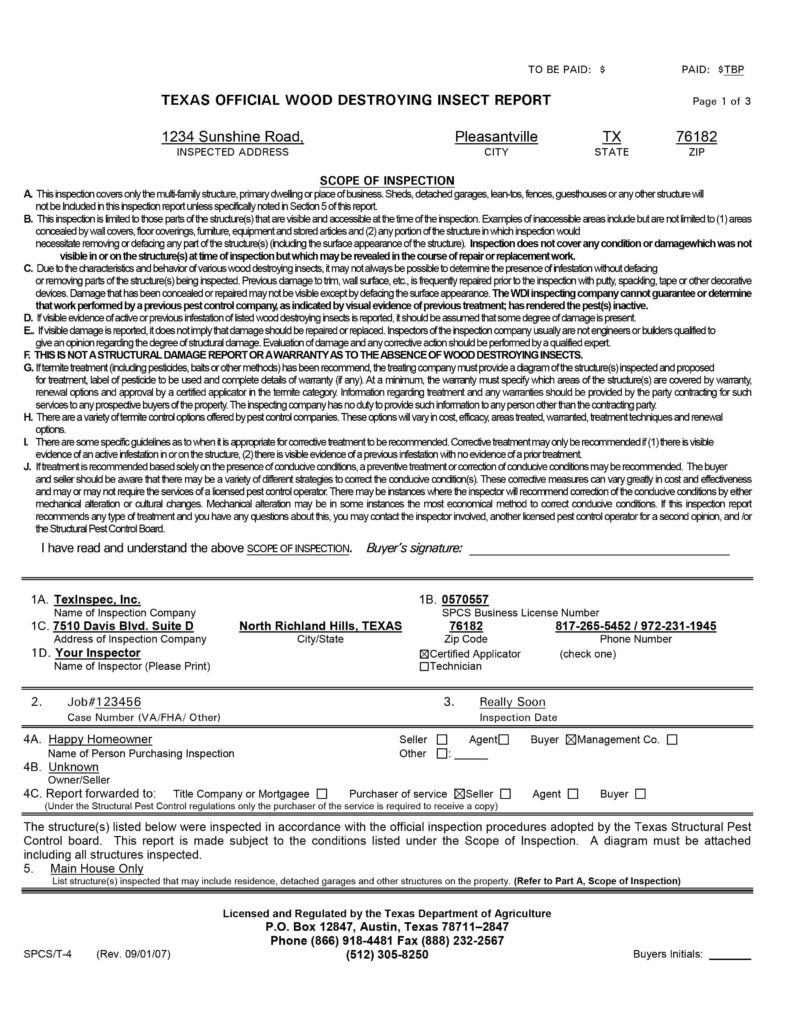 House Inspection Report Sample and Sample Report Texinspec