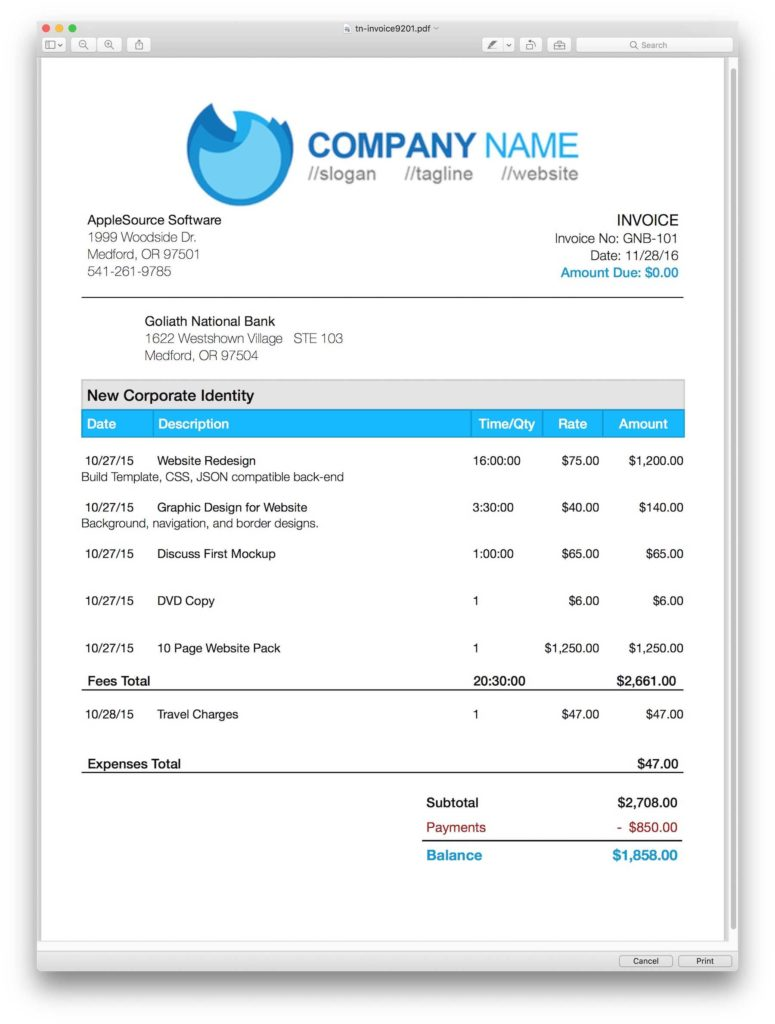 Image Of Invoice Template and Applesource software Timenet Invoice Templates Time Tracking