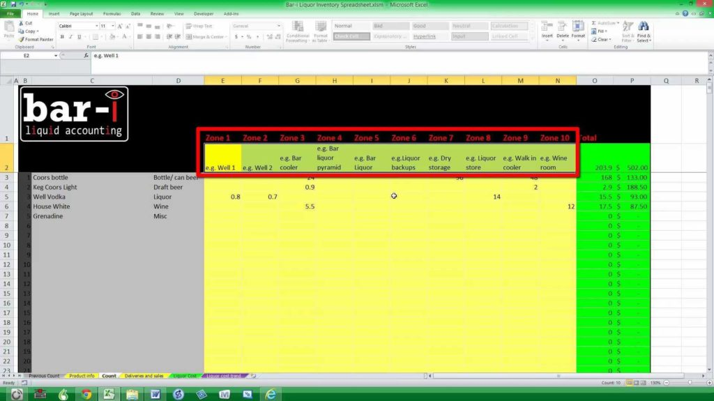 Inventory List Spreadsheet and Liquor Inventory Template Virtren