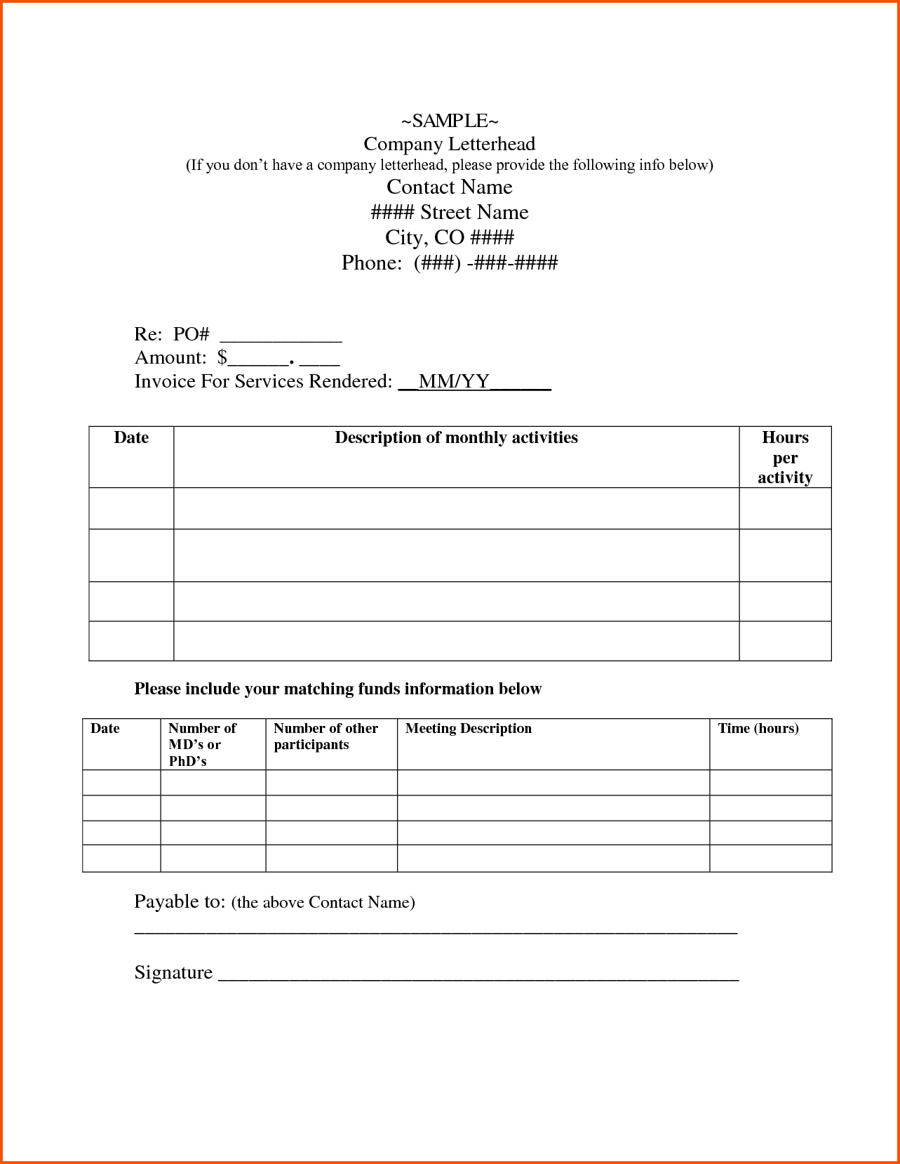 Invoice Template for Contractor and Independent Contractor Cover Letter