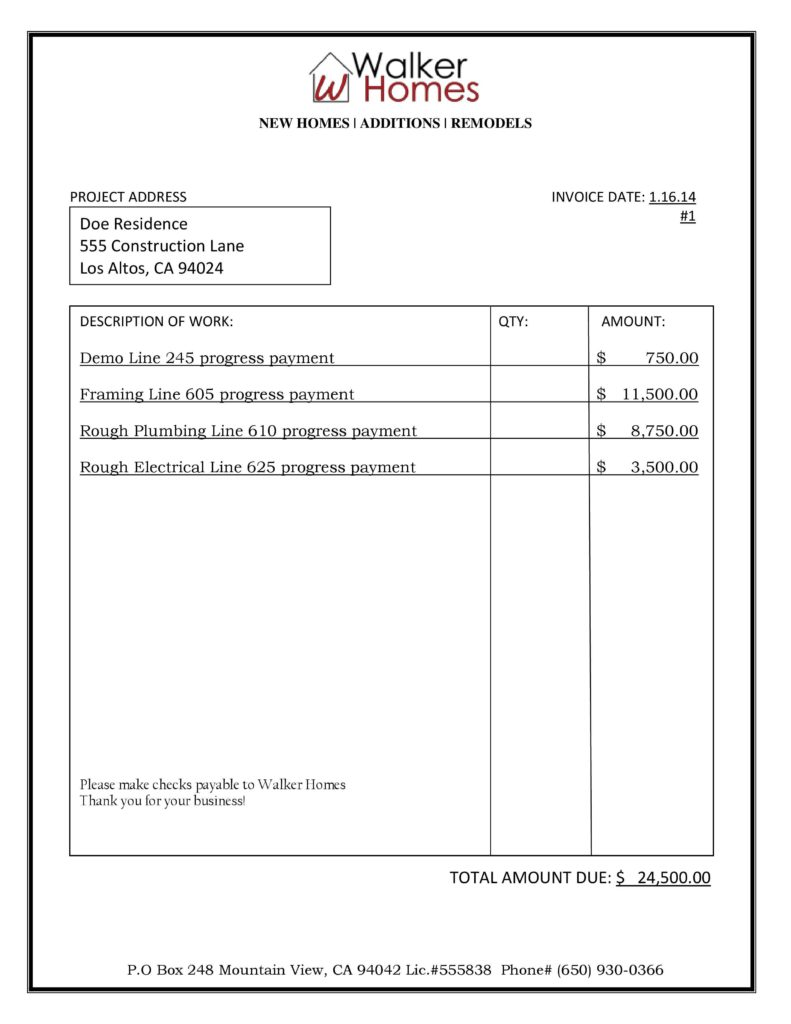Invoice Template for Contractors and Construction Invoice Samples Invoice Template Ideas
