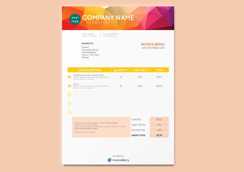 Invoice Template for Graphic Designer Freelance and Free New Indesign Invoice Templates Invoiceberry Blog