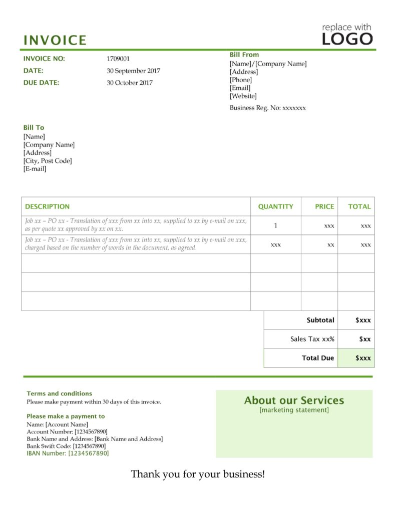 Invoice Template with Credit Card Payment Option and Your Translation Invoice 9 Point Blueprint Free Templates