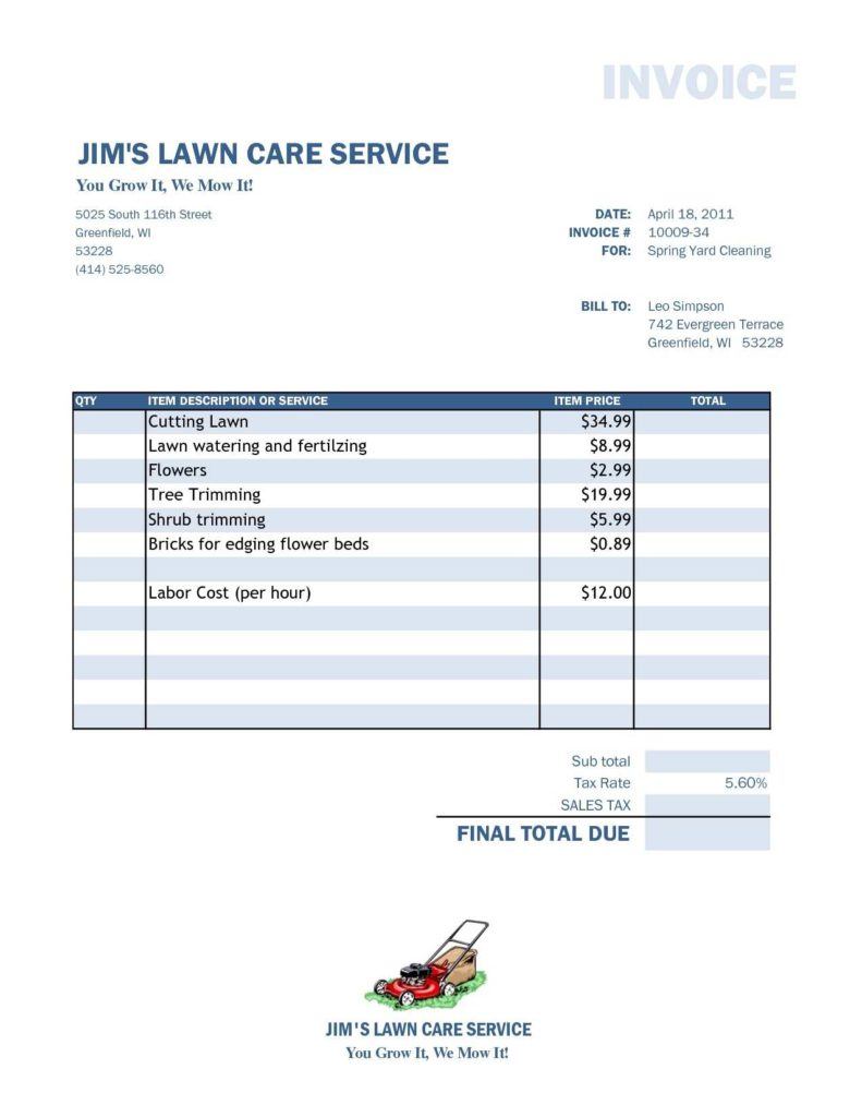 Invoices Templates for Free and Lawn Care Invoice Template Excel Design Invoice Template