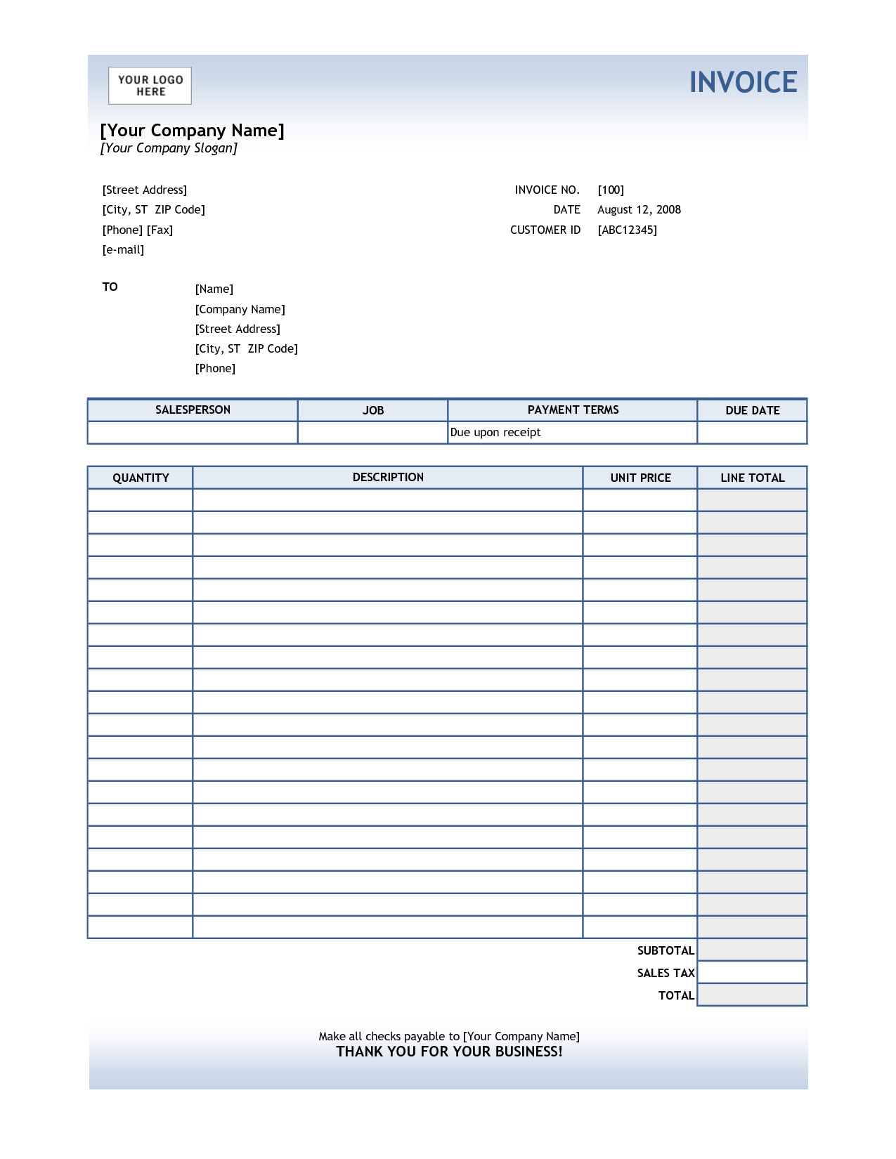 Invoices Templates for Free and Service Invoice Template Excel Invoice Example