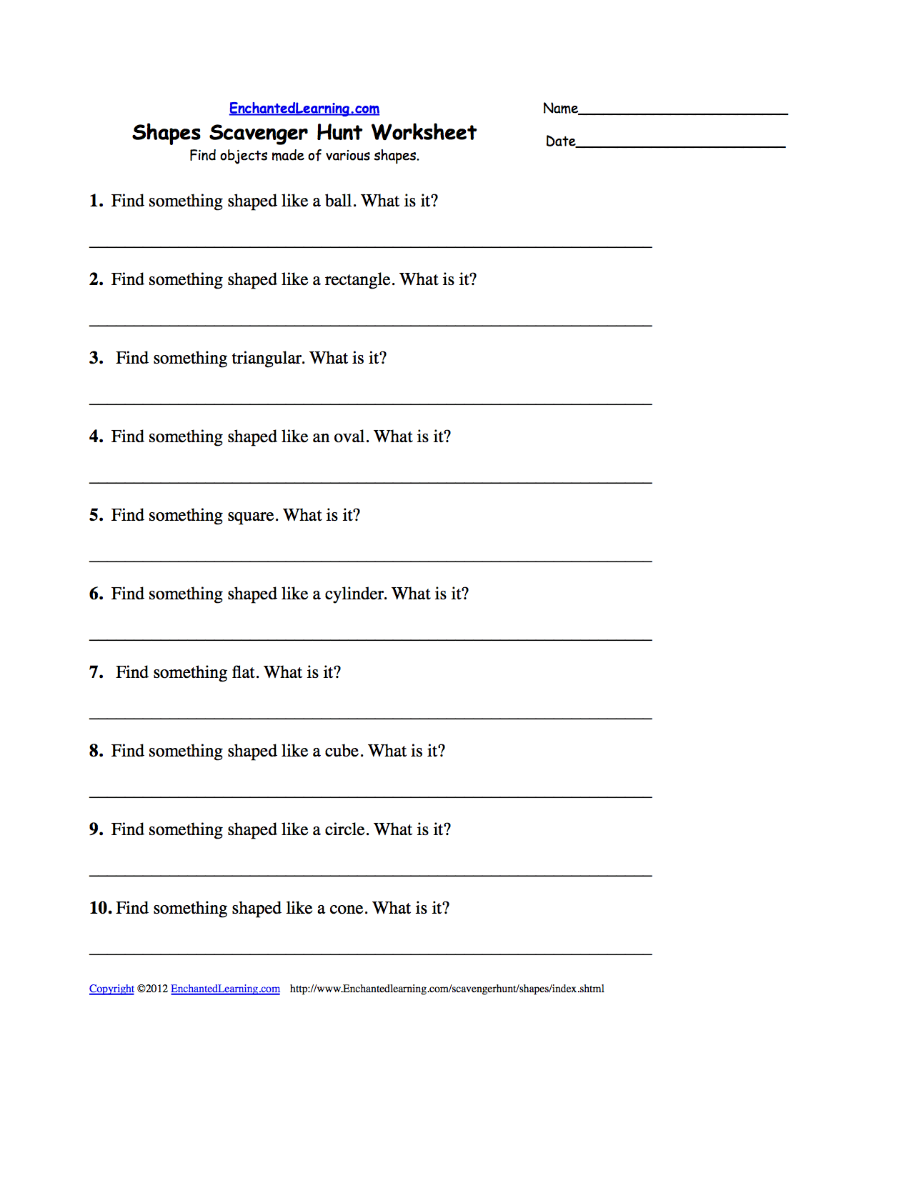 Job Worksheet Pdf and Scavenger Hunts to Print Enchantedlearning