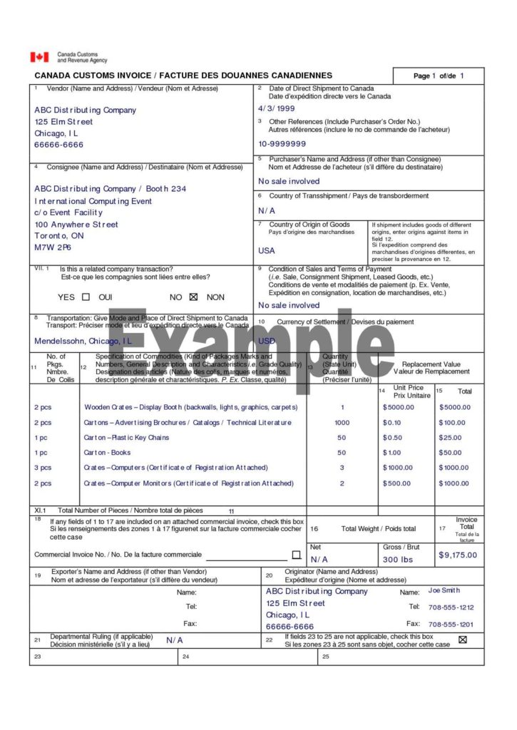 Landscaping Invoice Sample and Canada Customs Invoice Canada Customs Invoice Template Vrices