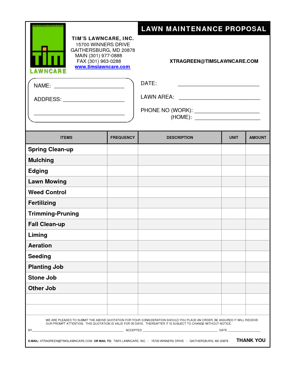 Lawn Mowing Invoice Template Free and Free Lawn Care Contract forms Firmsinjafo