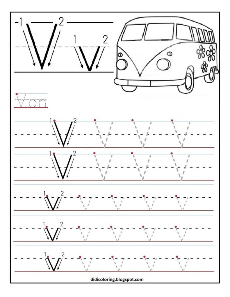 Learn to Write Kindergarten Worksheets and Free Printable Worksheet Letter V for Your Child to Learn and