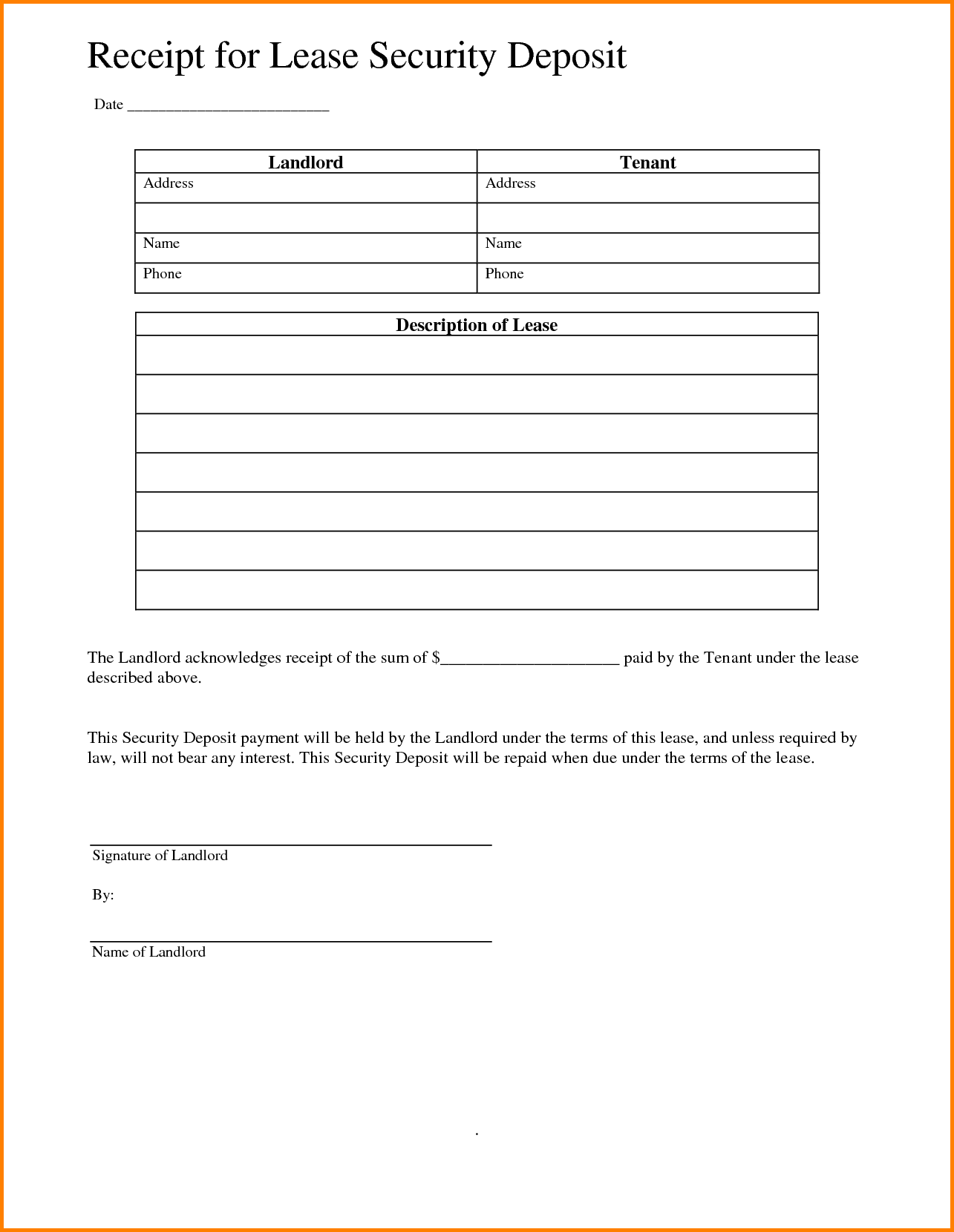 Lease Invoice Template and 11 Security Deposit Receipt Letter Template Word