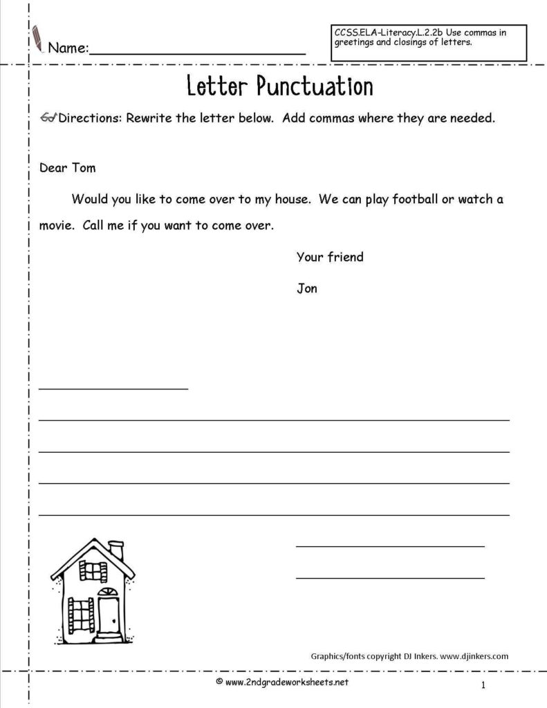 Letter Writing Worksheets for Grade 5 and Letters and Parts Of A Letter Worksheet