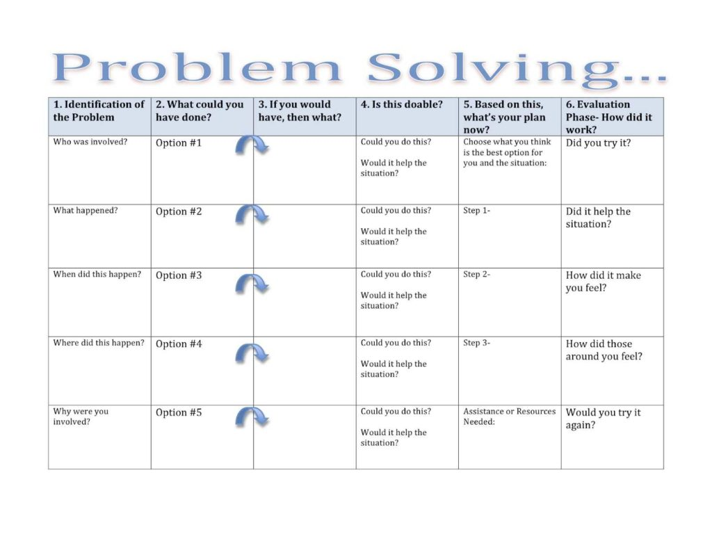 Problem Solving Worksheets Therapy