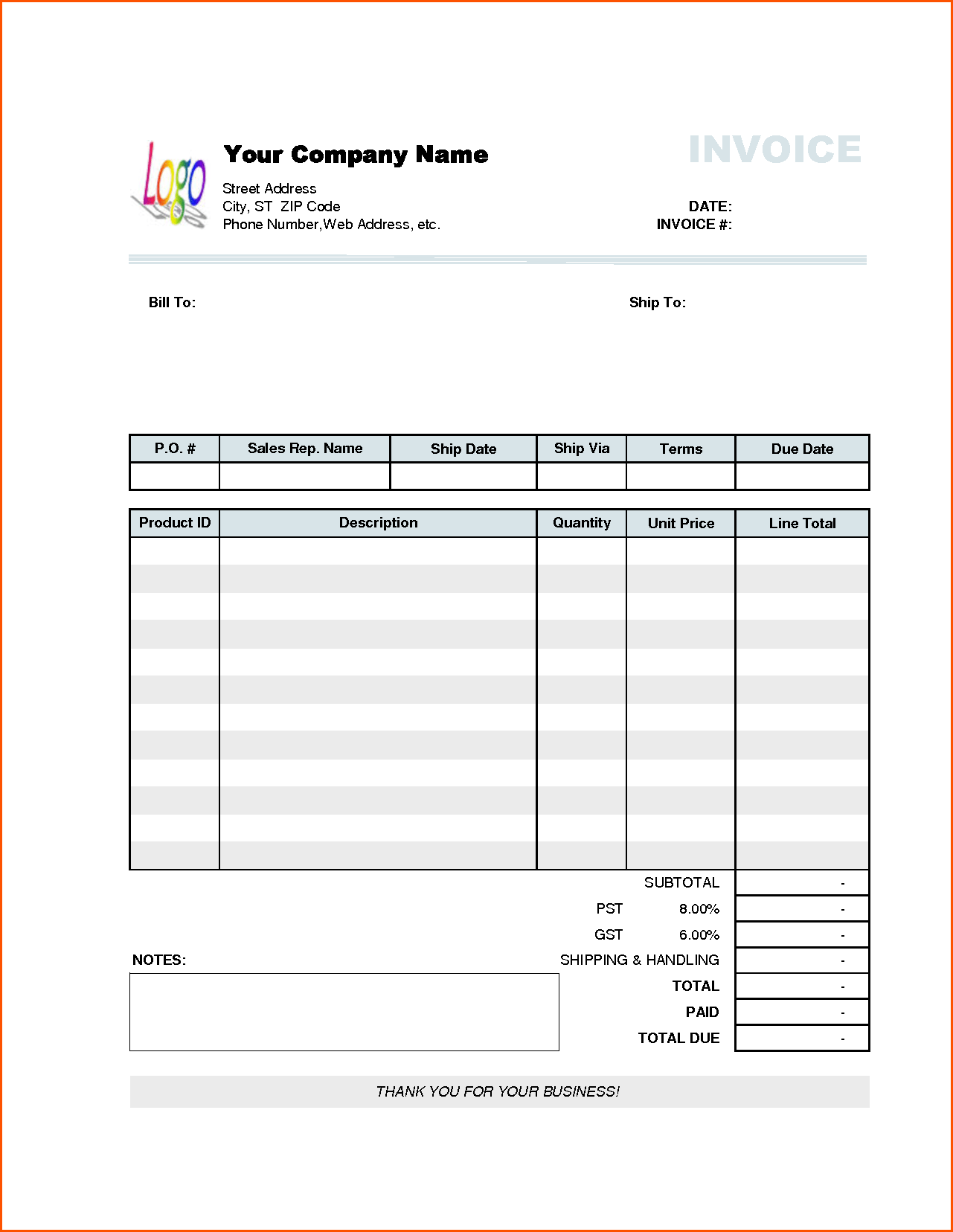Manual Invoice Template and Pany Invoice Template Invoice Example