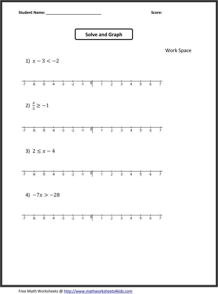 Math Worksheets for 8th Grade Algebra 1 and 7th Grade Algebra Worksheets 7th Grade Math Worksheets Places