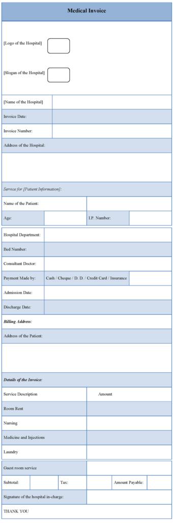 Medical Bill Template Pdf and Hospital Invoice Template Word Rabitah