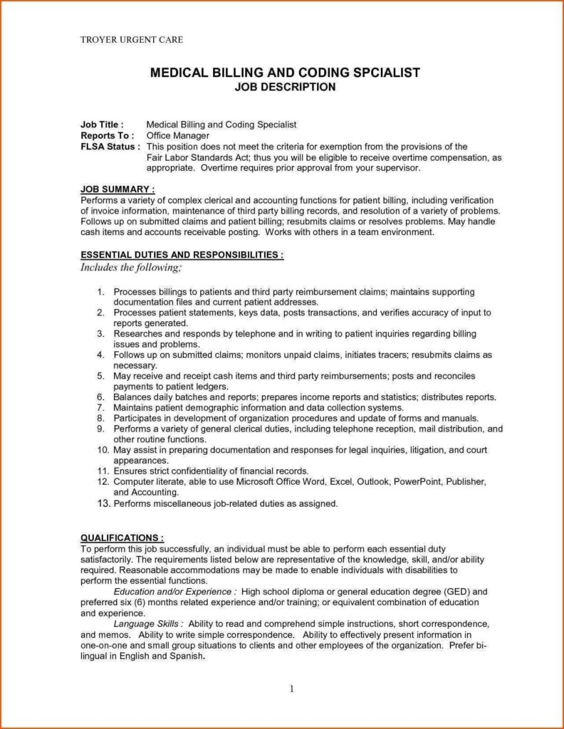 Medical Billing and Coding Test Sample and Medical Billing and Coding Job Description for Resume Resume for