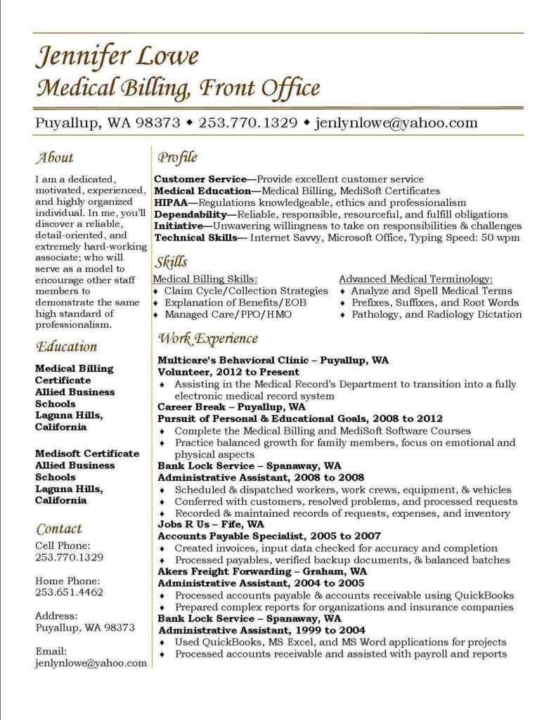 Medical Billing Contract Sample and Medical Billing Experience Resume Resume for Your Job Application